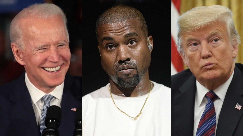 Kanye West Joe Biden et Donald Trump