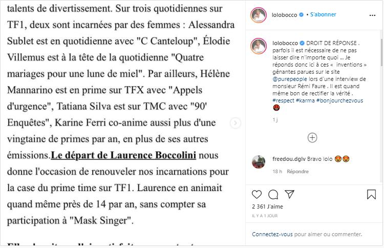 Laurence Boccolini : déçue de TF1