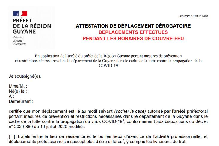 Attestation de déplacement en France
