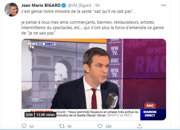 Tweet de Jean-Marie Bigard