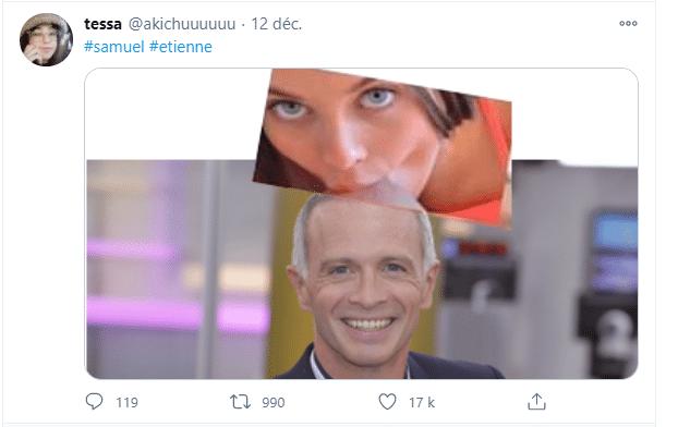 Un photomontage de l'animateur sur Twitter