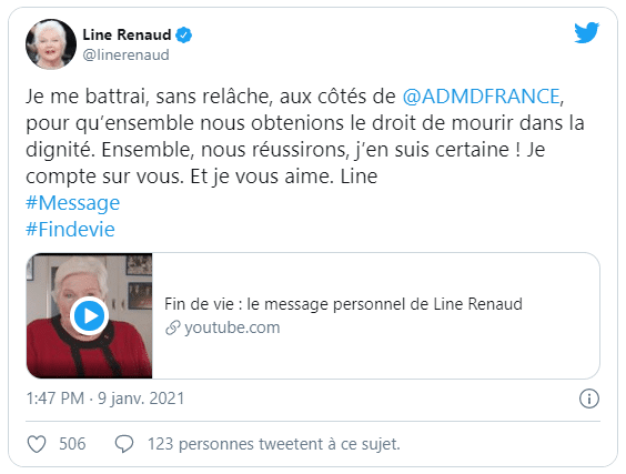 Compte Twitter de Line Renaud