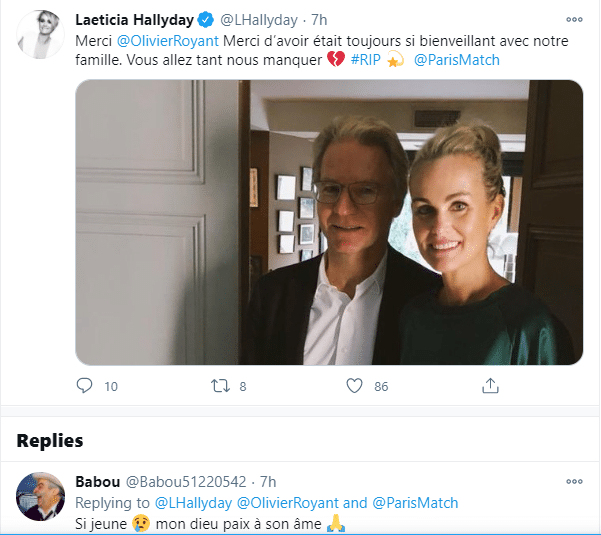 Laeticia Hallyday rend hommage à Olivier Royant sur Twitter