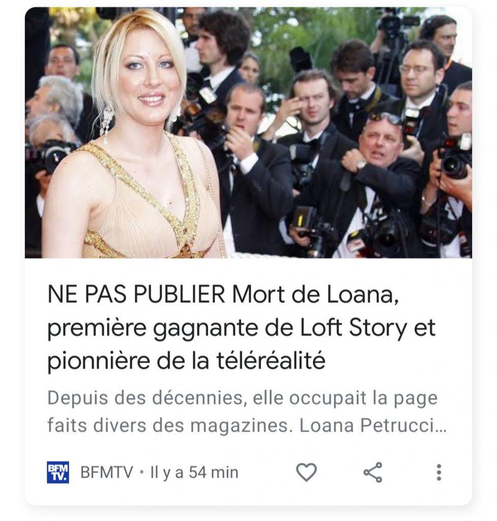Loana est morte : Une fausse information ?