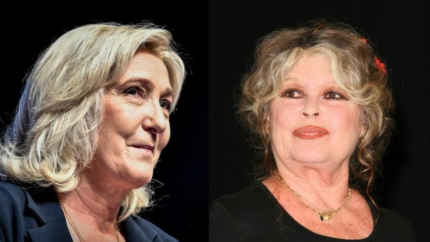 Marine Le Pen. Ce cadeau de Brigitte Bardot qui trône dans son bureau